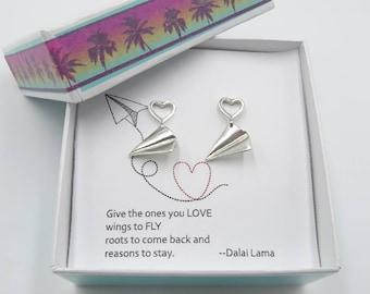 Paper Airplane earrings Sterling silver plane earrings 3D Origami earring Fun earrings Birthday Gift for girl earrings gift for BFF