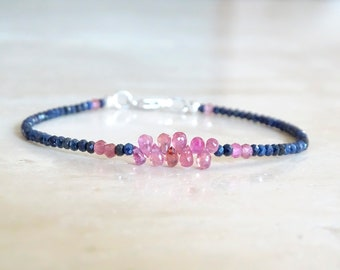Blue and pink Sapphire briolettes bracelet, OOAK Birthday gift for her, Genuine tiny sapphires beaded bracelet, Authentic gemstone jewelry