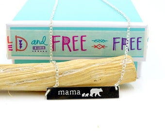 Mama bear bar necklace, Mother's day gift for mom gift for her, Personalized bear cub Sterling silver Custom mama bear jewelry Mother's day
