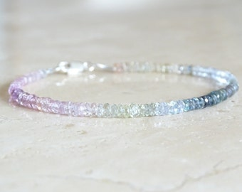 Authentic AAA sapphires bracelet, Valentine's gift, September birthday gift for her,  natural genuine pastel colors gemstone jewelry