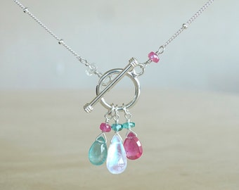 Zambian Emerald, Rainbow Moonstone and Pink Sapphire necklace, May Birthday gift for her, May Birthstone, Authentic gemstone