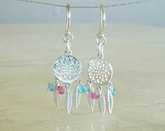 Dream catcher earrings, Boho Birthday gift for her, Tourmaline Dream-catcher, Gemstone cluster, Sapphire patriotic Bohemian