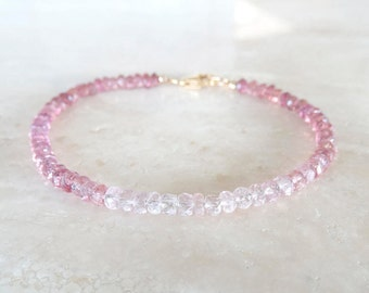 Tourmaline bracelet Ombre pink gemstone bracelet Beaded Tourmaline jewelry Birthday Gift for her Gift for BFF gradient pink bracelet