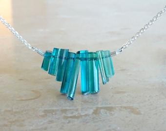 Ombre Blue Tourmaline sticks necklace OOAK gift Tourmaline necklace Birthday gift for BFF gift for her indicolite raw stone rough gemstone