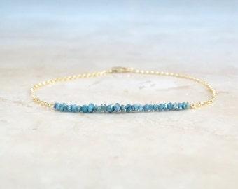 Blue diamond Jewelry, Christmas gift for her, Birthday gift, Rough diamond bar dainty bracelet, authentic raw gemstones, birthday gift