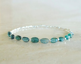 Ombre Blue Teal Tourmaline bracelet Ultra dainty elastic Blue Tourmaline bracelet Birthday gift for her gemstone bracelet silver gold filled