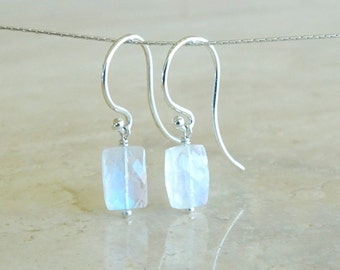 Rainbow Moonstone earrings, Celestial Jewelry, Inspirational Gift for BFF, gift for her, Rainbow Flash moonstone baguette  Moonstone Jewelry