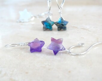 Whimsical Star earrings, Christmas gift for her, Gemstone dangle Celestial, Cosmic jewelry, Inspirational gift for girlfriend, gift under 50