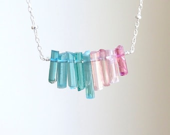 Multi color Tourmaline sticks necklace, October Birthday gift for her, Raw stone crystals, Rough Indicolite  jewelry