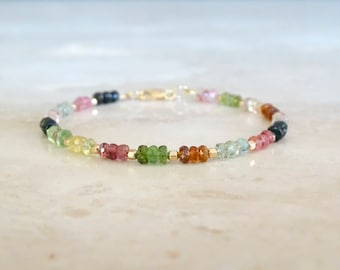 Tourmaline beaded bracelet, Birthday gift for her, Multi color gemstone jewelry, October birthstone