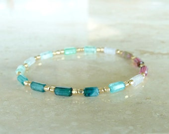 Watermelon Tourmaline tubes bracelet, Ombre Blue  bi-color Tourmaline jewelry Birthday gift for her gemstone rainbow bracelet gold filled