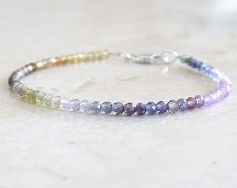 Authentic AAA Pailin sapphires bracelet, Birthday gift for her, September birthstone,  natural genuine multi color gemstone jewelry
