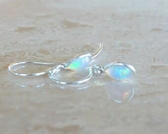 October gift Ethiopian welo opal earrings in silver, Celestial Jewelry, Gift for BFF gift for her, Dainty Flashy Fiery Opal drop Jewelry