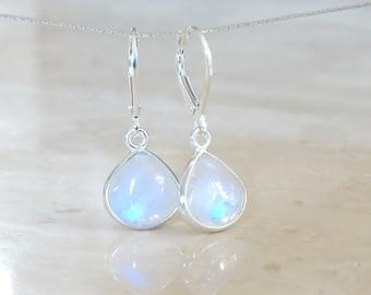 Rainbow Moonstone earrings, June Birthday gift for her, gift for girlfriend, June Birthstone, Celestial Jewelry Inspirational