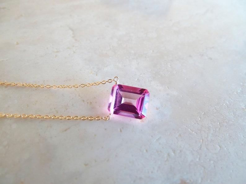 Pink topaz baguette necklace November Birthstone Birthday image 0