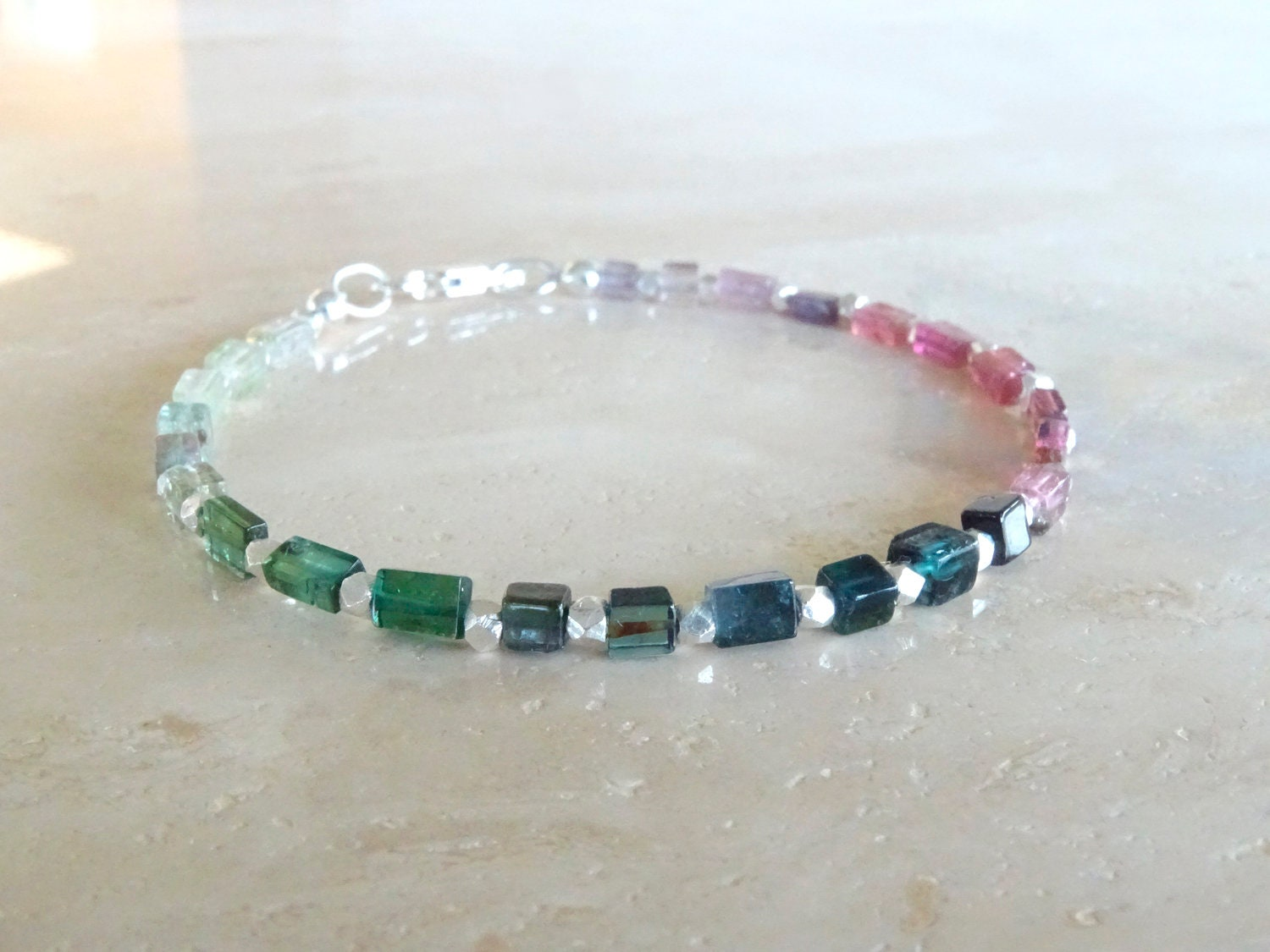 Rainbow Tourmaline Bracelet Colorful Square Beads Indicolite Beaded Jewelry October Birthday Gift For Her BFF