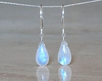 Moonstone earrings, Christmas gift, June Birthday Gift for girlfriend, Inspirational Celestial Jewelry Rainbow Flash moonstone briolettes