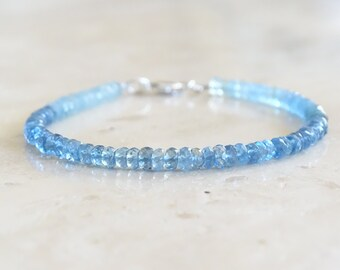 Aquamarine  bracelet, AAA Santa Maria rondelles, March Birthday gift for her, Authentic gemstone jewelry, March Birthstone