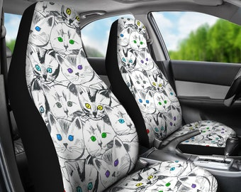 Cats Galore Pair Of Micro Fiber Car Seat Covers White