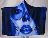 Calavera (Day Of The Dead Dia De Los Muertos) Halloween Skull Design 3 Hooded Sherpa Blanket (Blue Lapis Lazuli)