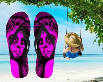 2ac77d96fd64e6 Calavera (Day Of The Dead   Dia De Los Muertos) Halloween Skull Design  2 ( Pink Easy On The Eyes Rose) Women s Flip-Flops