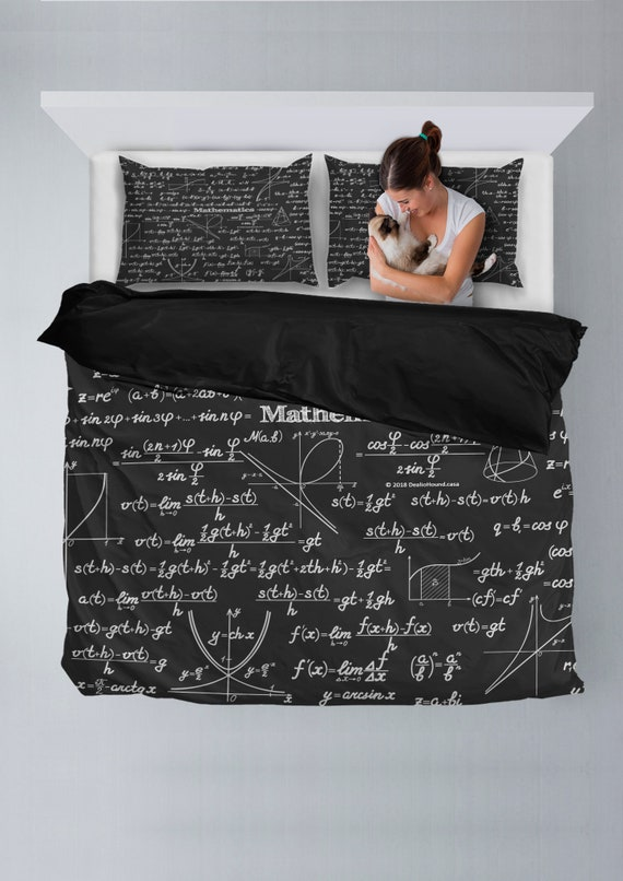Duvet Cos.Mathematica Design 2 Bedding Set With Duvet Cover And 2 Pillow Cases Black Perfect Gift For Math Geeks And Science Nerds
