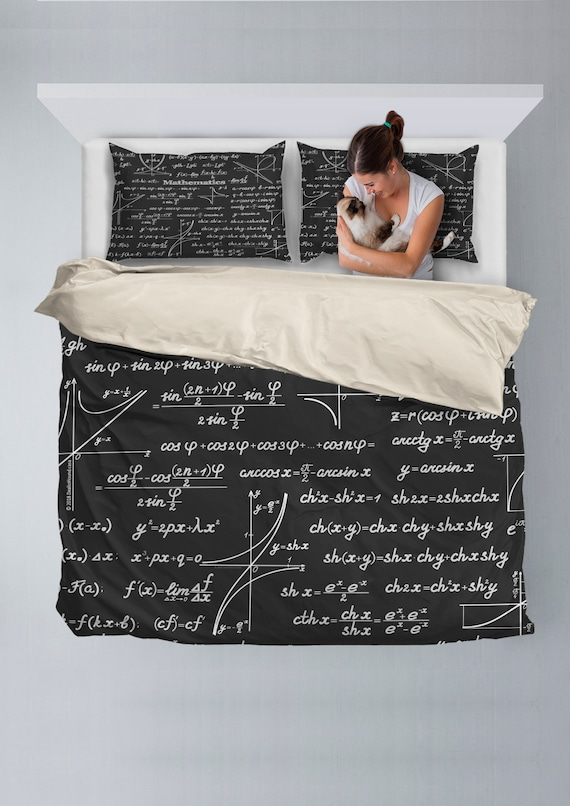 Duvet Cos.Mathematica Design 1 Bedding Set With Duvet Cover And 2 Pillow Cases Black Perfect Gift For Math Geeks And Science Nerds