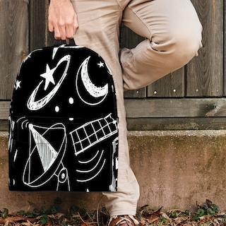 Astronomy Chalkboard Backpack For Kids, Teens, And Adults (Black) - Great Gift For Astronomers And Space Enthusiasts