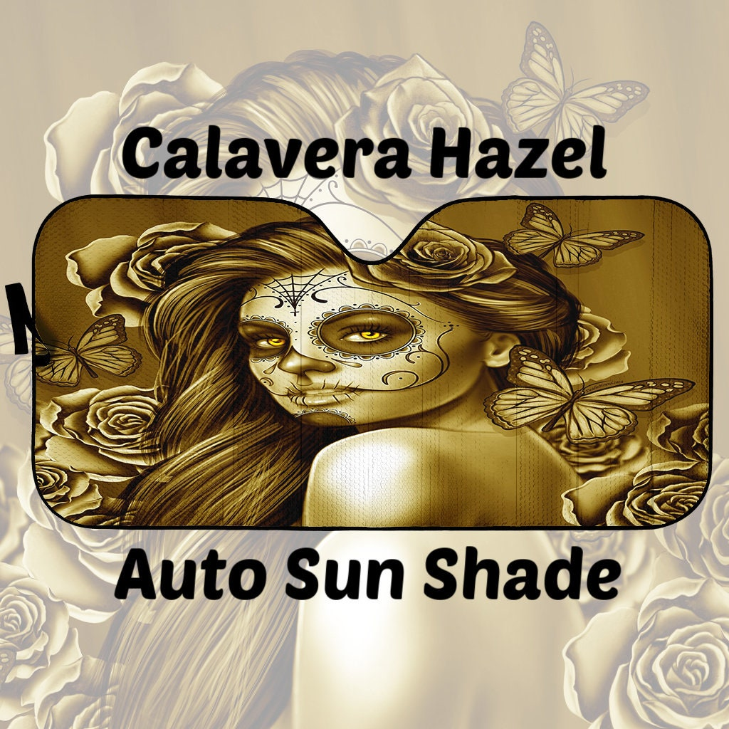 Calavera Car Windshield Sun Shade Halloween Day Of The Dead    af11df2332f