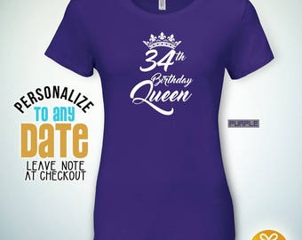 Birthday Queen 34th Gifts For Men Gift Tshirt