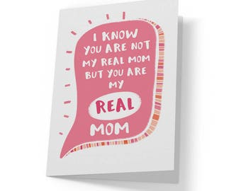 Adoptive Mom Card Step Mother In Law Mothers Day Birthday Funny For Gift