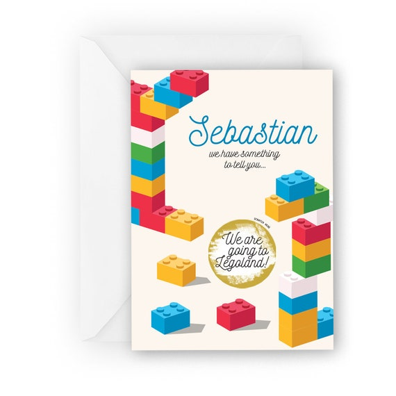 Personalised lego scratch card* We/'re going to Legoland* Surprise card* birthday