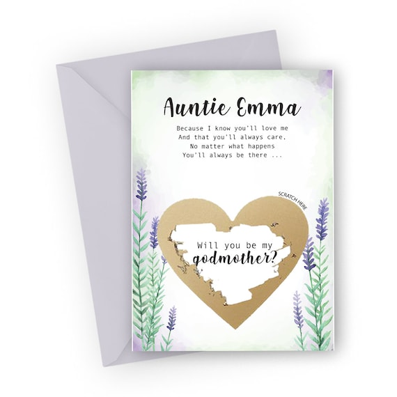 Custom godmother gift Godmother proposal scratch off card Will you be my Godmother asking card Personalised god parents card