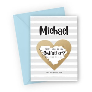 Personalised Invitation for uncle brother Godfather proposal scratch off card Will you be my Godfather? asking card Custom godfather card