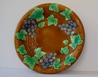 Continental Majolica Serving Bowl Decorative Plate with Grape Motif