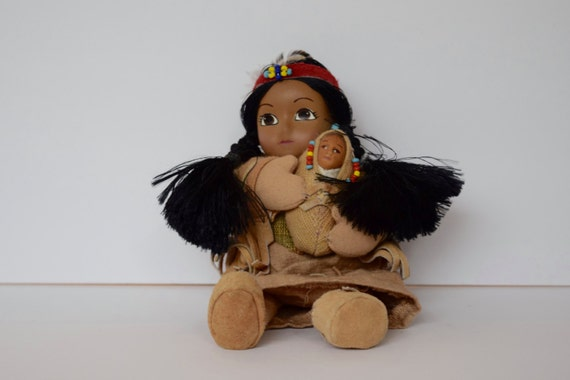 Admirable Native American Indian Bean Bag Doll Woman And Papoose Baby Cloth Doll Painted Face I8 Caraccident5 Cool Chair Designs And Ideas Caraccident5Info