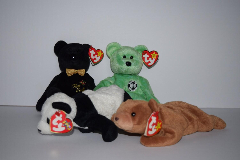 57ae687ae5e Four TY Beanie Babies Bear Beanie Baby Stuffed Animal Cubbie