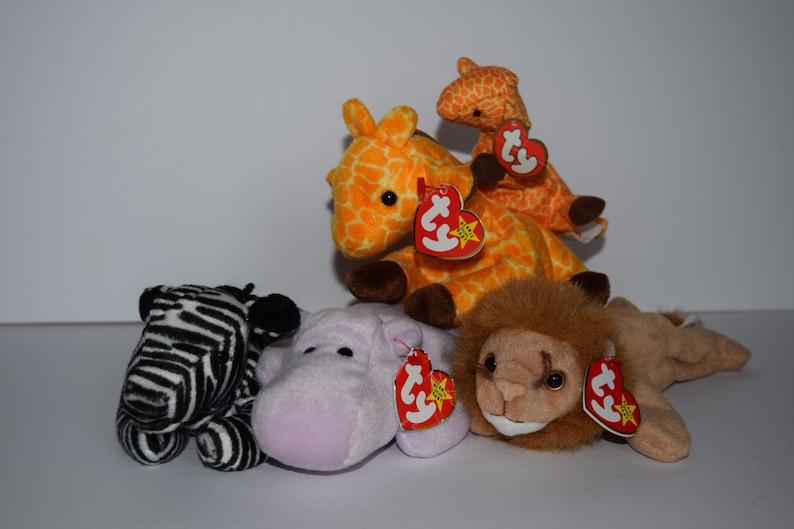 150f2e2a5af Five TY Beanie Babies Safari Beanie Baby Stuffed Animal Mini