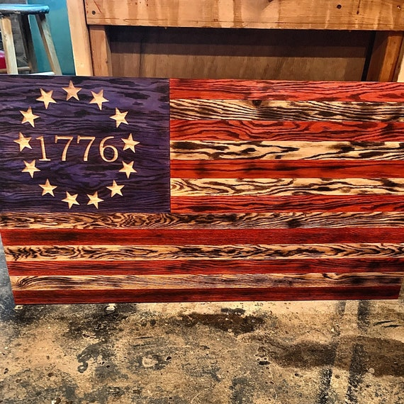 Rustic Wooden American Flag Wall Decor Charred American Flag Etsy