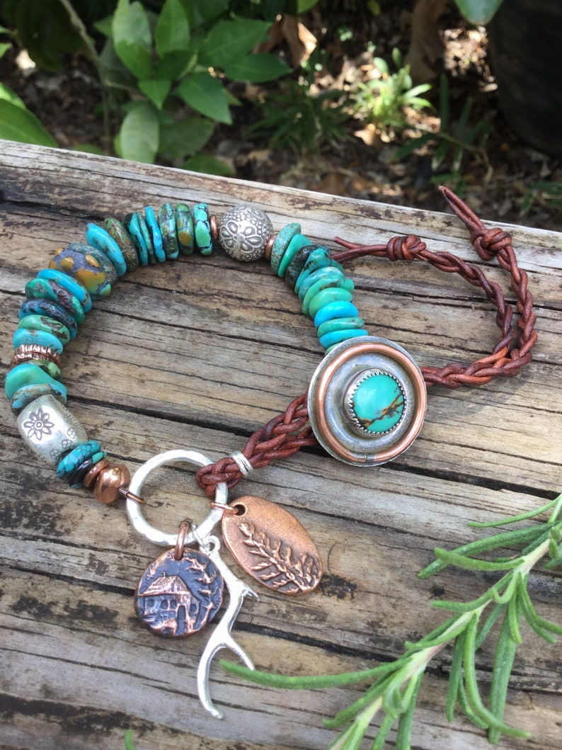 Camp Southwestern Cabin Inspired Bracelet. Turquoise Silver and Copper Bracelet Cabin Bracelet