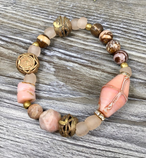 Rose Quartz Bracelet Rose Quartz Jewelry Gift for Her Mixed Trade Bead and Gemstone Beaded Bracelet Boho Beaded Leather Bracelet