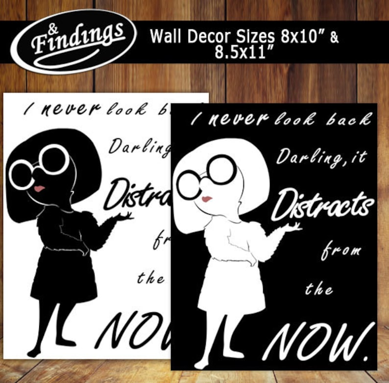 4bbfcab9b33 Don t Look Back Wall Decor Edna Mode Silhouette
