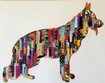 German Shepherd collage wall art