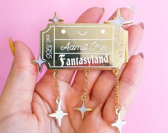 Admit One Enamel Pin   Fantasy Pin   Disney Bound Park Style