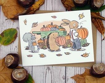 Pumpkin Picking Greetings Card
