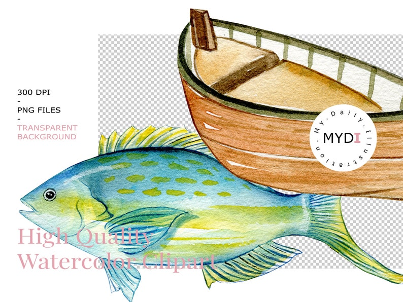 Watercolor fishing clipart set for summer time and father/'s day design project scrapbook album or planner stickers