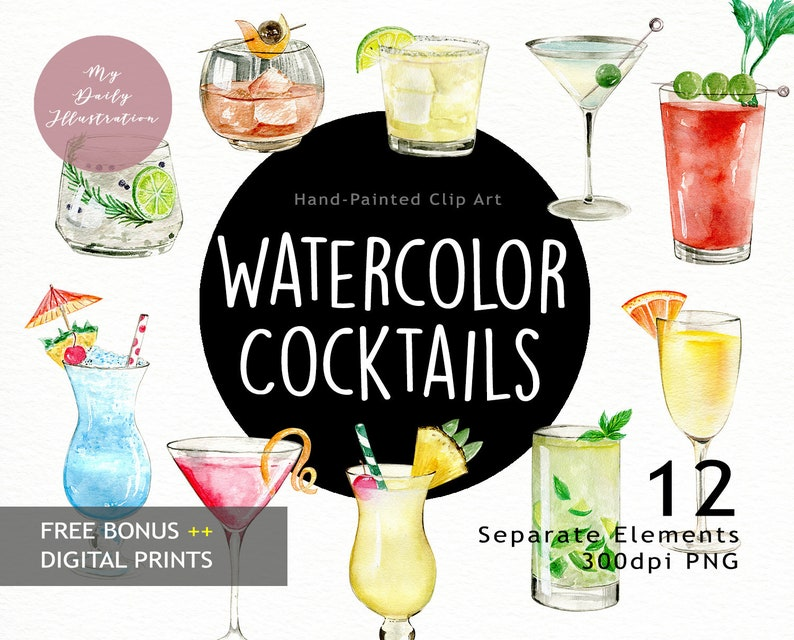 Watercolor Classic Cocktails Drink Clipart in png files digital download  for Summer Project, scrapbook album and planner stickers