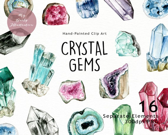 Watercolor crystal gems and geode clipart in png files digital download for  scrapbook album and planner stickers