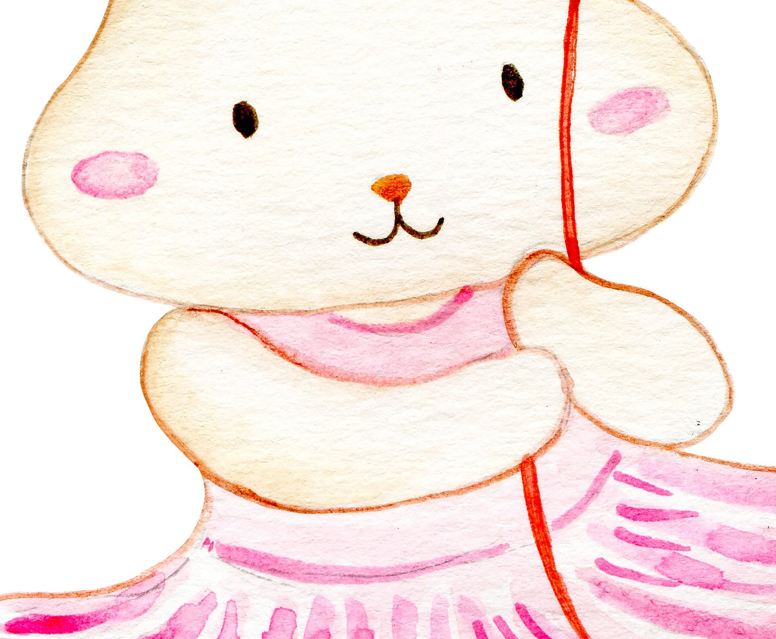 watercolor ballerina bunny for pink ballet dance themed project,