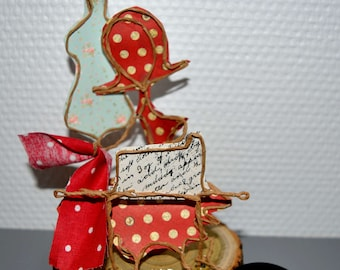 gift idea for sewing fans, string and paper sculptures, decoration, personalized gift, Etlabobinettecherra, french handmade